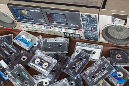 old audio tape cassettes and player