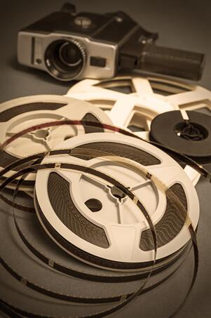 vintage movie camera reels